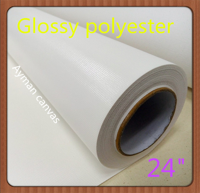 """2 rolls of Glossy surface 24""""*30m size poleyster canvas rolls for wholesale"""