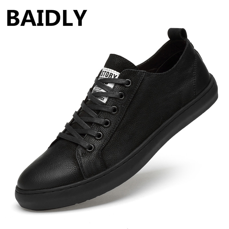BAIDLY Men Casual Shoes Breather Brand Genuine Leather Men Shoes High Quality Comfortable Men Sneakers Sapato