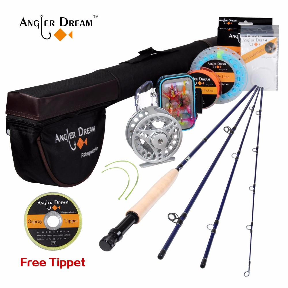 New Streamer Trout Fly Rod 8'4'' 2.5m Portable Travel Telescopic Rod Fly Fishing Pole 3/4WT Metal Reel Set Fly Fishing Rod Combo(China)