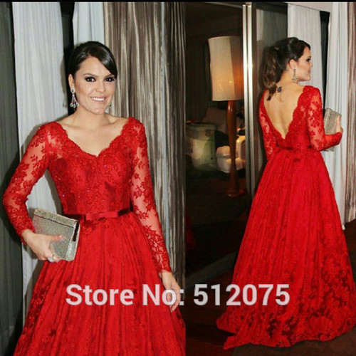 9ed82b53c5 Backless 2016 Ball Gown V-neck Floor Length Long Sleeves Red Lace Party Long  Prom Dresses Prom Gown Evening Dress Evening Gown