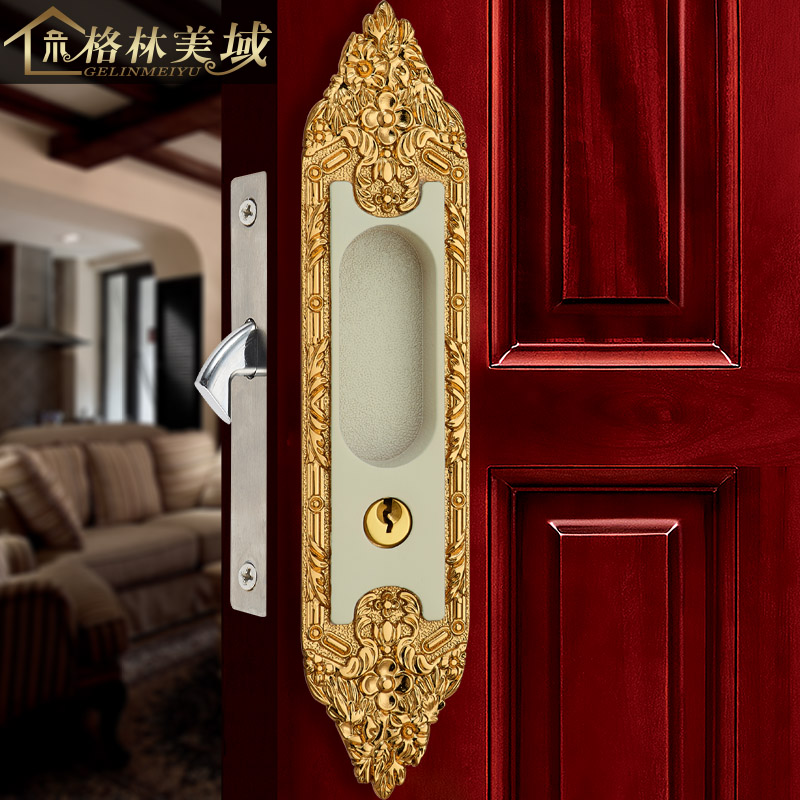 Copper Locked Copper Sliding Door Lock Copper Kitchen Bathroom Slide Door Lock American Handle Handle 02 handle auxiliary locked copper door door handle lock double door door lock door lock