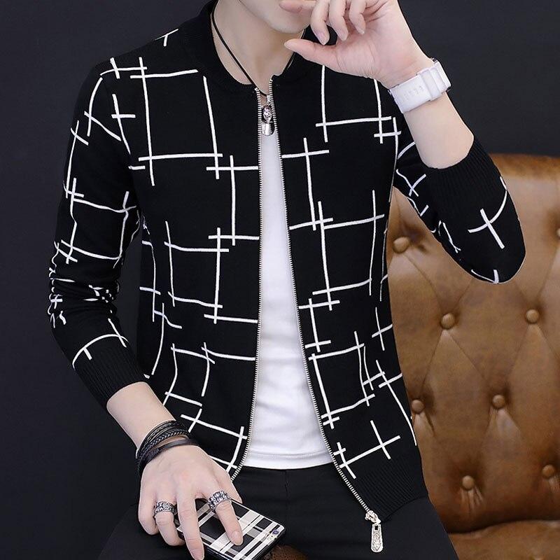 Hommes chandail cardigan zipper 2019 automne et hiver style coréen homme chandail slim o-cou tendance tricoté vêtements d'extérieur adolescent garçon