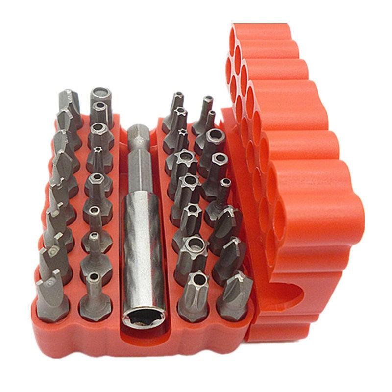 Juego de brocas de seguridad de 33 piezas Juego de destornilladores Torx Hex Star a prueba de manipulaciones