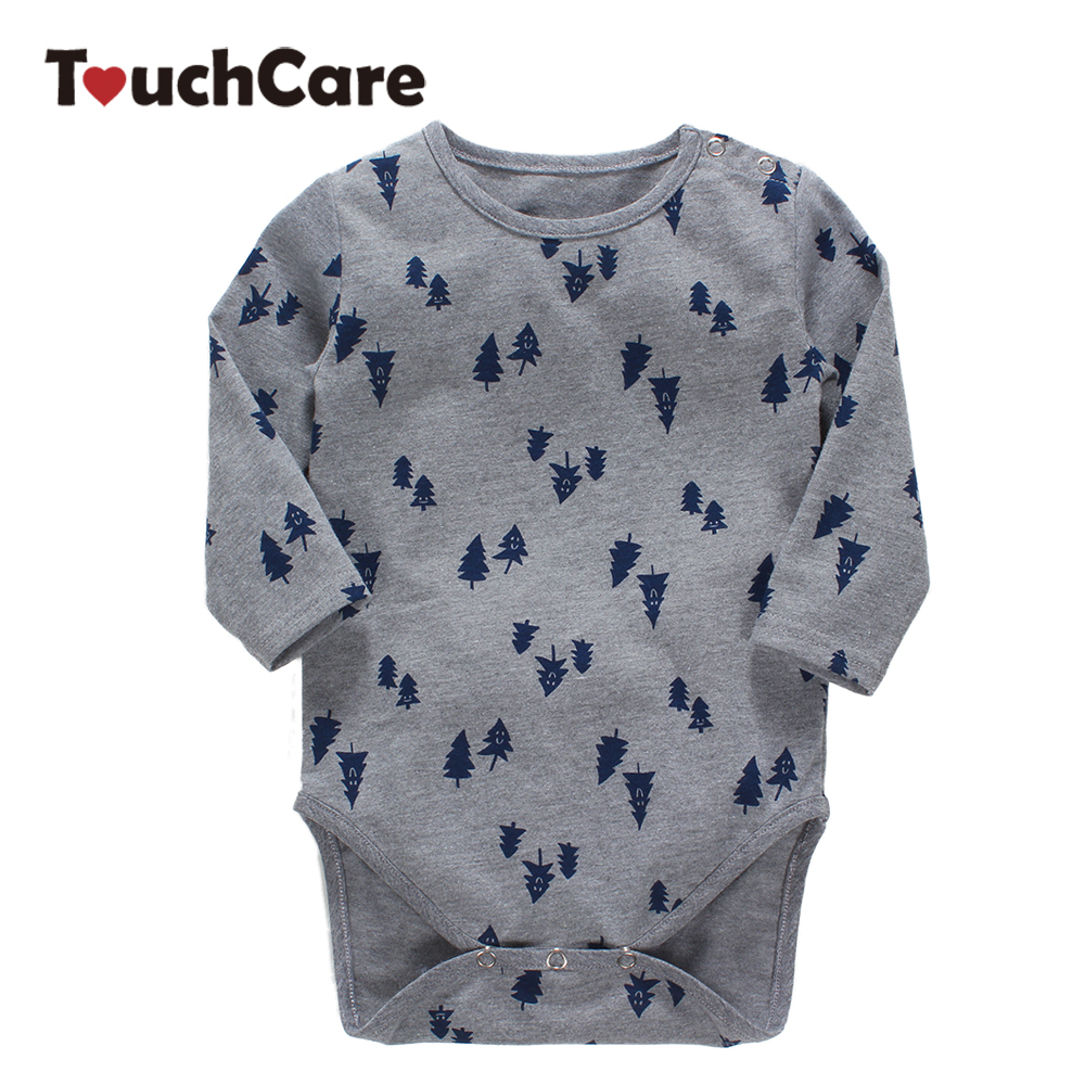 Infant Soft Cotton Baby Rompers Pine Tree Printed Kids Boy Girl Clothes Long Sleeve O-neck Casula Toddler Jumpsuit infant cute cartoon dinosaur baby boy girl rompers soft cotton car printed long sleeve toddler jumpsuit kids clothes