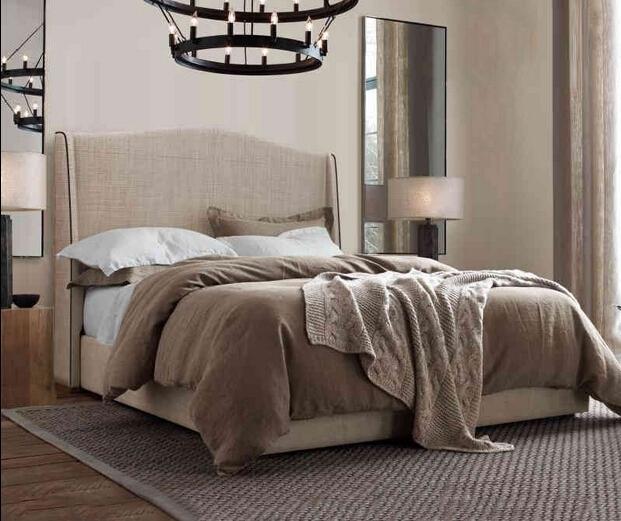 Cabecero alto contemporáneo moderno tela de dormir suave cama muebles de dormitorio de matrimonio Hecho en China