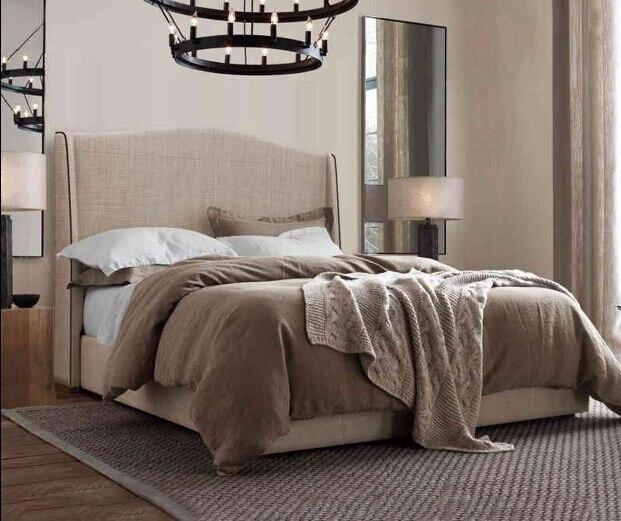 cabecero alto moderno tela de dormir suave cama muebles de dormitorio de matrimonio hecho en