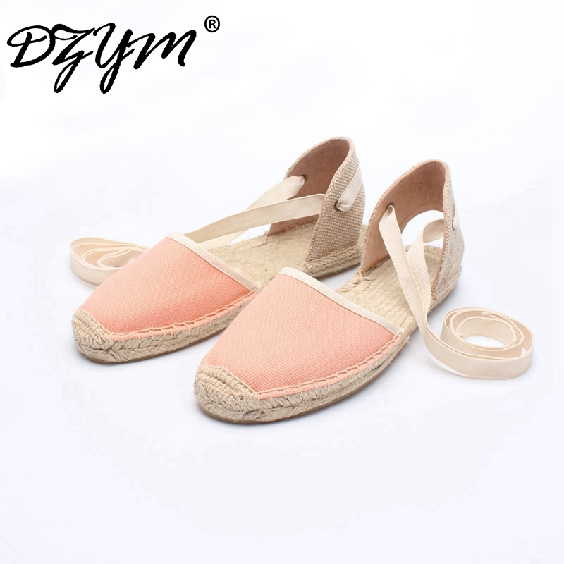 DZYM 2017 New Classic Bowtie Canvas Espadrille Women Ballet Flats Elastic Band Straw Linen Shoes Stripe Gingham Zapatos Mujer vintage embroidery women flats chinese floral canvas embroidered shoes national old beijing cloth single dance soft flats