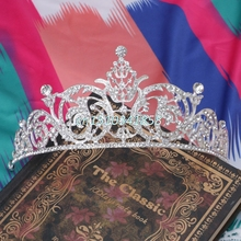 Люкс для Австрийские Стразы Тиара Свадебный Корона Veil Повязка Аксессуары Для Волос