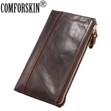 COMFORSKIN Vintage Multi-Card Bit Men Wallets Large Capacity 2018 Newest Cowhide Leather Long Clutch Wallet Business Purses