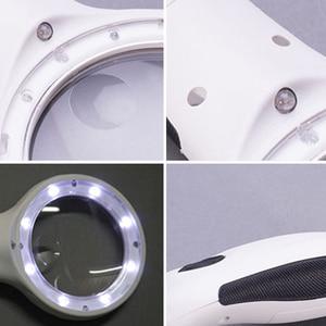 Противоскользящая 8LED 10X ручная Лупа увеличительное стекло с детектором денег лампа питается от 3 батареек AAA
