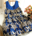Spring 2016 Embroidery maternity clothing maternity bronzier patchwork lace pleated tank dress doll dress maternity dress