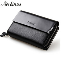 Norbinus Genuine Leather Men Clutch Bag Double Zipper Long Wallet Men's Purse Men Real Skin Business Clutch Wallets Money Clip
