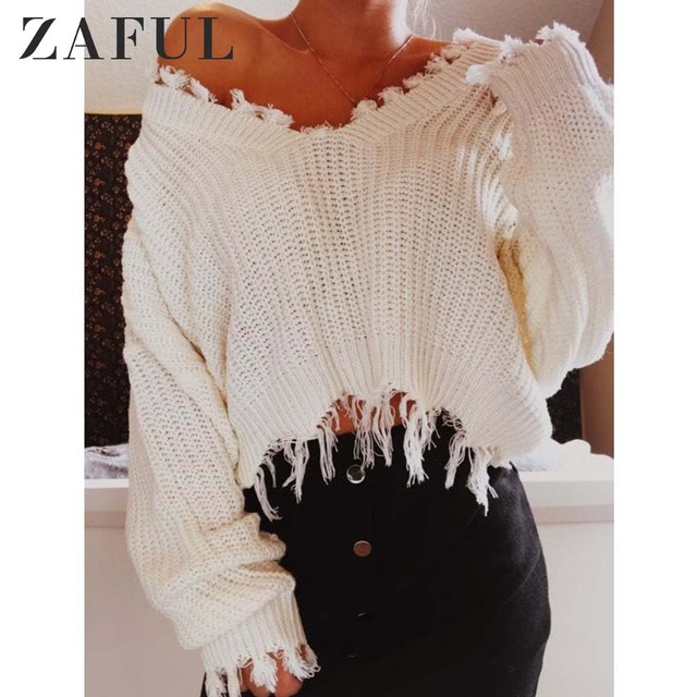 219e0d8a6f1b ZAFUL Knitted Sweater Autumn Women One Size Ripped V Neck Loose Sweater  Pullovers Ladies Solid Color Tassel Sweaters Tops 2019