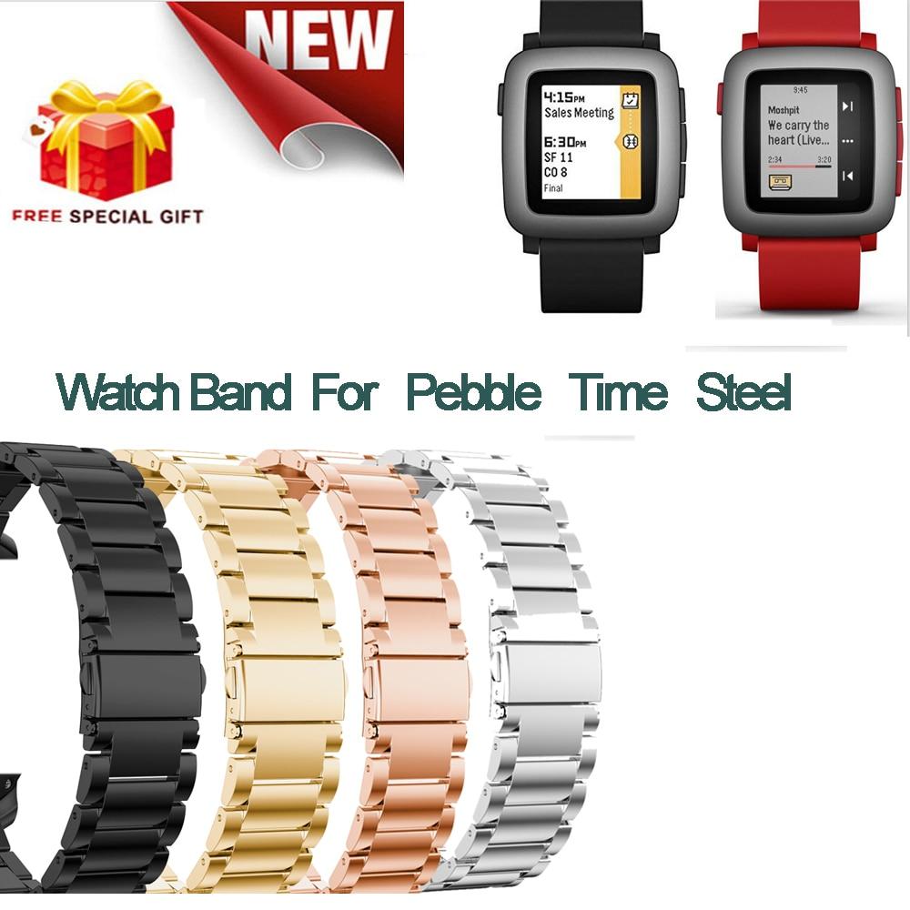 Joyozy 22mm Brand New For Pebble Time Steel Strap Stainless Steel Wrist Watch Bands Watchband Wriststrap Bracelet  Clasp stylish 8 led blue light digit stainless steel bracelet wrist watch black 1 cr2016