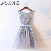 Modabelle Princess Short Wedding Party Dresses For Girls Dubai Bridesmaid Dresses With Embroidery Tulle Bridesmaids Dress 2017