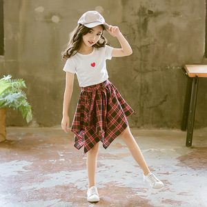 Image 3 - ファッション十代の服の服2019夏ソフト綿tシャツ格子縞のスカートショーツ子供服スーツ2個子供セット