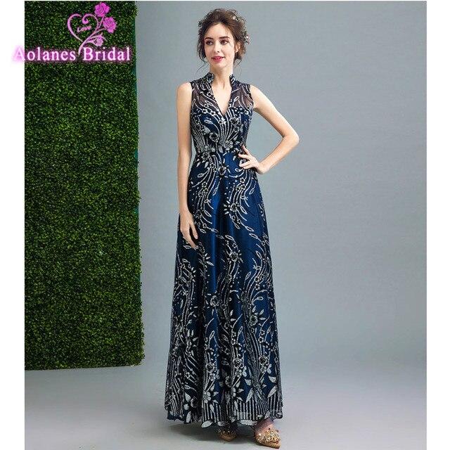 Luxury Blue Gold Long Sequin Evening Dress V Neck Keyhole Back Cheap ...