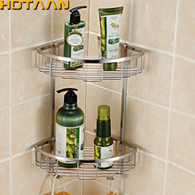Wall Mounted Dual Tier 304 Stainless Steel Triangular Shower Caddy Shelf Bathroom Corner Rack Storage Stock Holder Basket Hanger