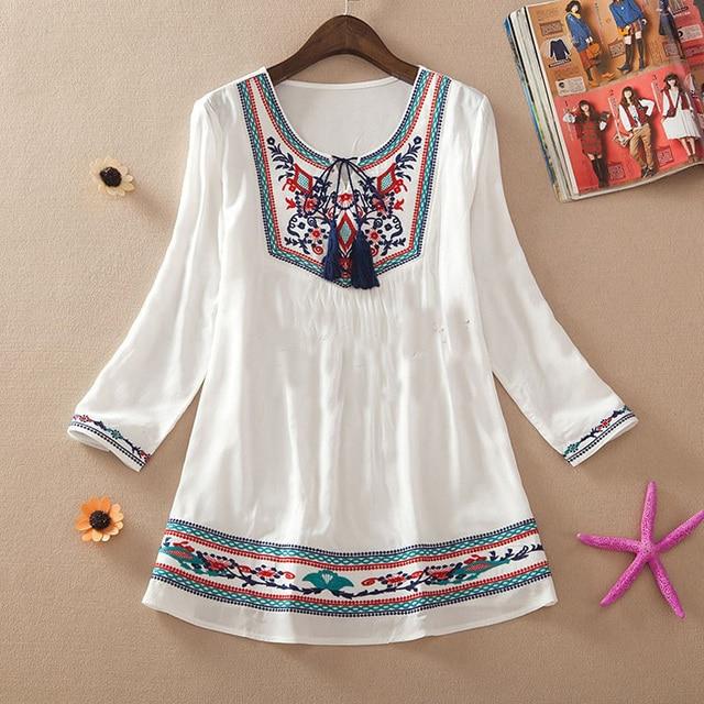 9336f10f488 New 2017 summer style women cotton embroidery shirt clothes bohemia blusa  feminina loose cute shirt plus