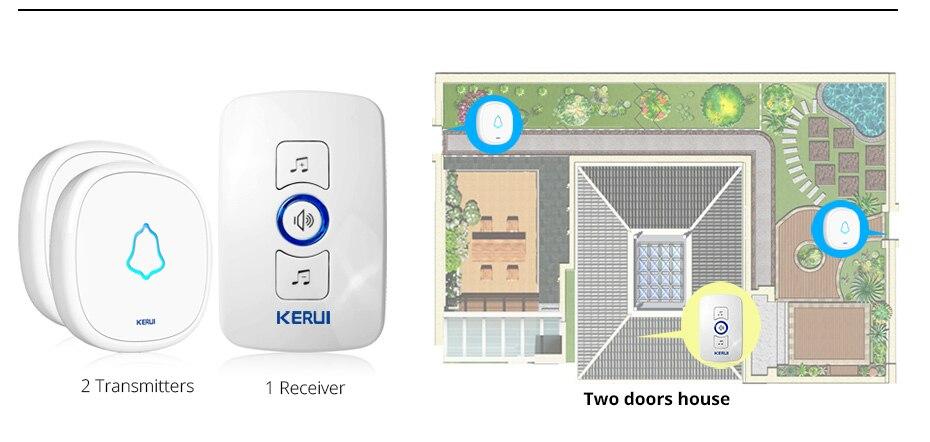 KERUI M525 Главная Безопасность Добро пожаловать Беспроводной дверной звонок смарт-куранты дверной звонок сигнализации светодиодный свет 32