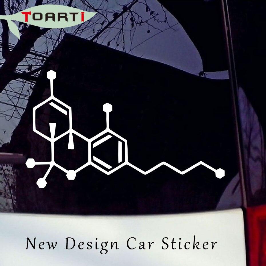 Carro-estilo thc molécula decalque de vinil motocicleta personalidade janela parede pára maconha erva daninha legalizar decorar acessórios