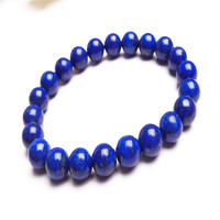 Drop Shipping Wholesale Genuine Natural Blue Lapis Lazuli Stone Bracelets For Women Lady Stretch Charm Round Bead Bracelet 9mm