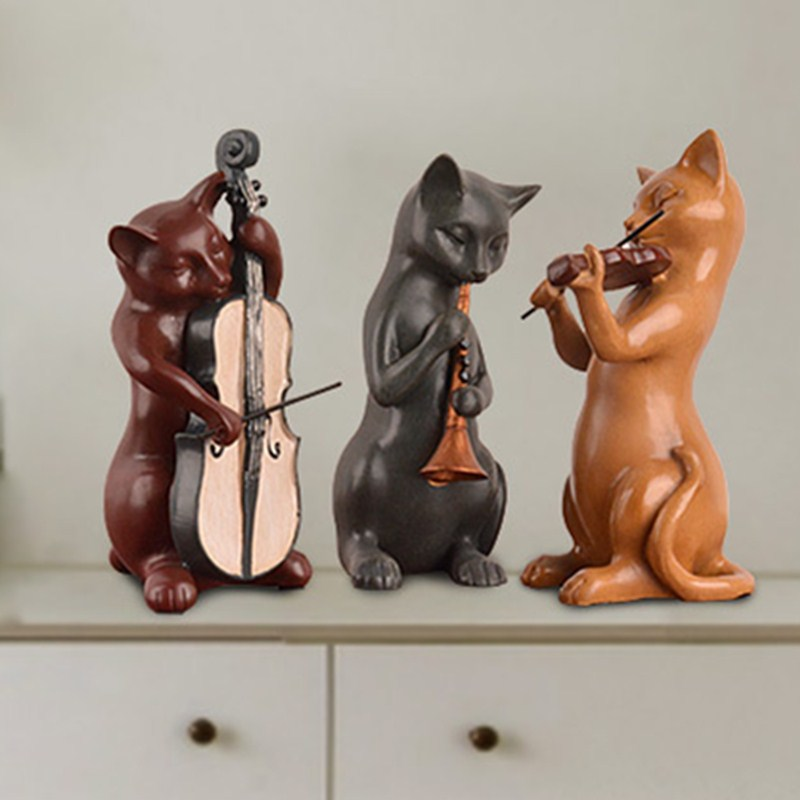 Continental Style Animals Cello Suona Cats Violin Band Classical Resin Desktop Decoration Office Action Figure Model Toy L1619 cartoon boy girl design resin desktop decoration