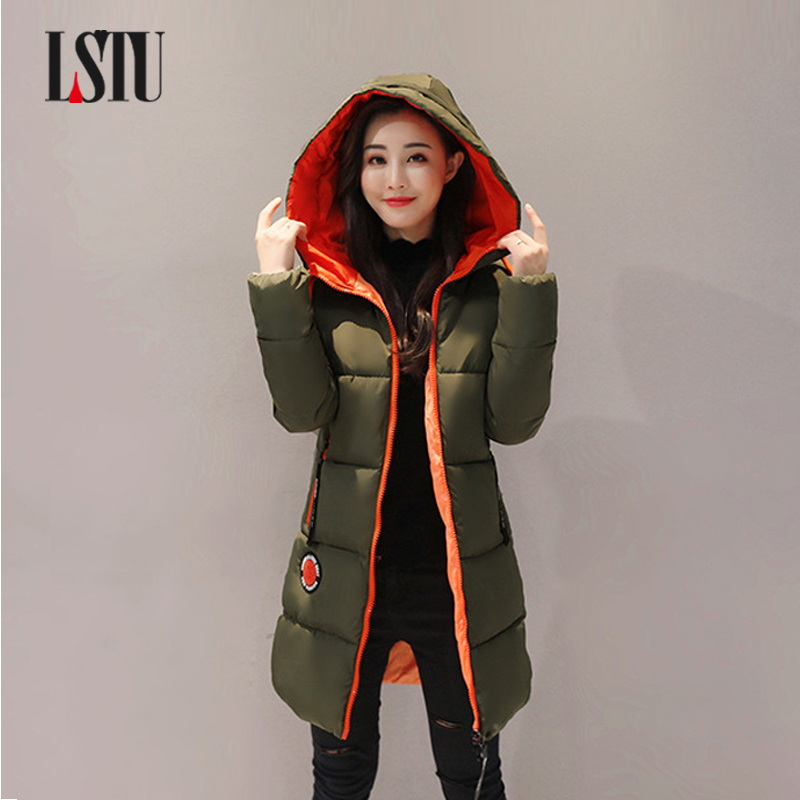 LSTU Fashion Snow Ladies Coats Army Green 2017 Winter Coat Women Parka  Women Winter Jacket Black