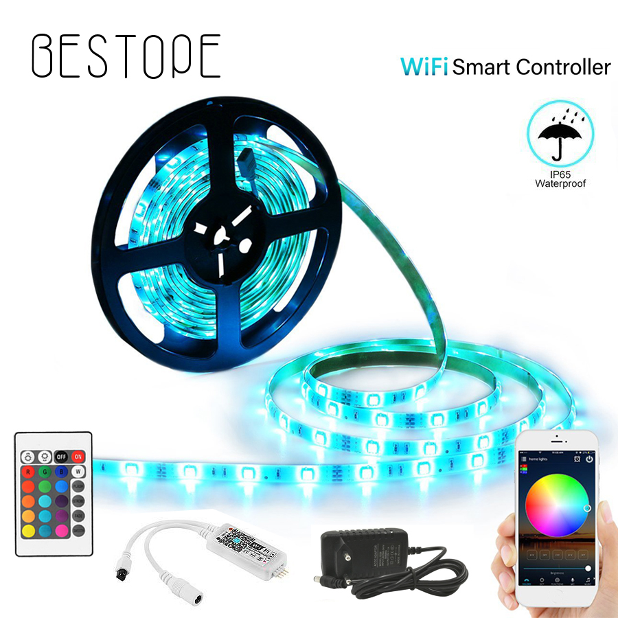 WIFI LED Strip light 10M 5M SMD RGB 2835 5050 diode led tape ribbon Waterproof led WIFI LED Strip light 10M 5M SMD RGB 2835 5050 diode led tape ribbon Waterproof led tape and remote controller with adapter set