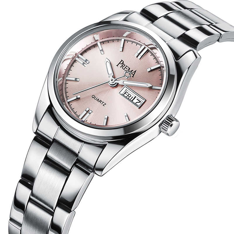 PREMA women watches 2018 brand fashion female clock wrist watch stainless steel waterproof Ladies Quartz dress Wristwatches pink