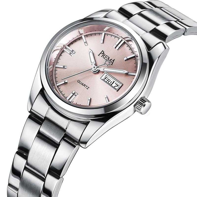 PREMA Women Watches 2018 Brand Fashion Female Clock Wrist Watch Stainless Steel Waterproof Ladies Quartz Dress Wristwatches Pink