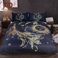 BeddingOutlet 3 Pieces Gold Moon Accompanys Sun Duvet Cover Set With Pillowcase Dark Blue Bedding Set