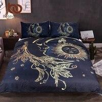 BeddingOutlet 3 Pieces Gold Moon Accompanys Sun Duvet Cover Set With Pillowcase Dark Blue Bedding Set