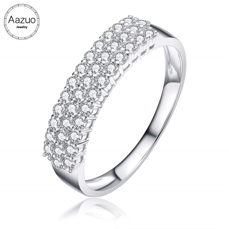 Aazuo 100 18K Jewelry White Gold Real Diamond Fashion 3 Link Ring Gift for Woman Propose