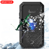 BROEYOUE Case For IPhone 7 6 8 5 5S X Plus Heavy Duty Armor Cases Metal
