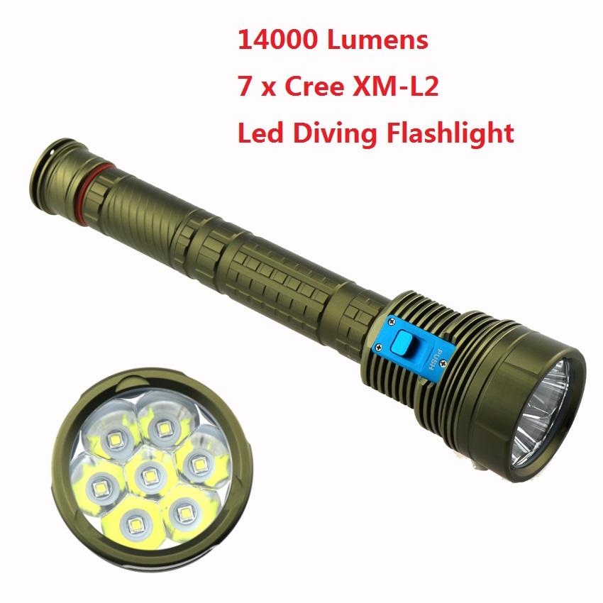 Upgrade DX7 Led Diving Flashlight 14000LM 7xCree XM-L2 Underwater Video Dive Torch Lamp Scuba Lanterns for 18650 / 26650 Battery powerful led cree xm l l2 diving flashlight underwater lights lamp hunting scuba flashlights 26650 or 18650 rechargeable battery