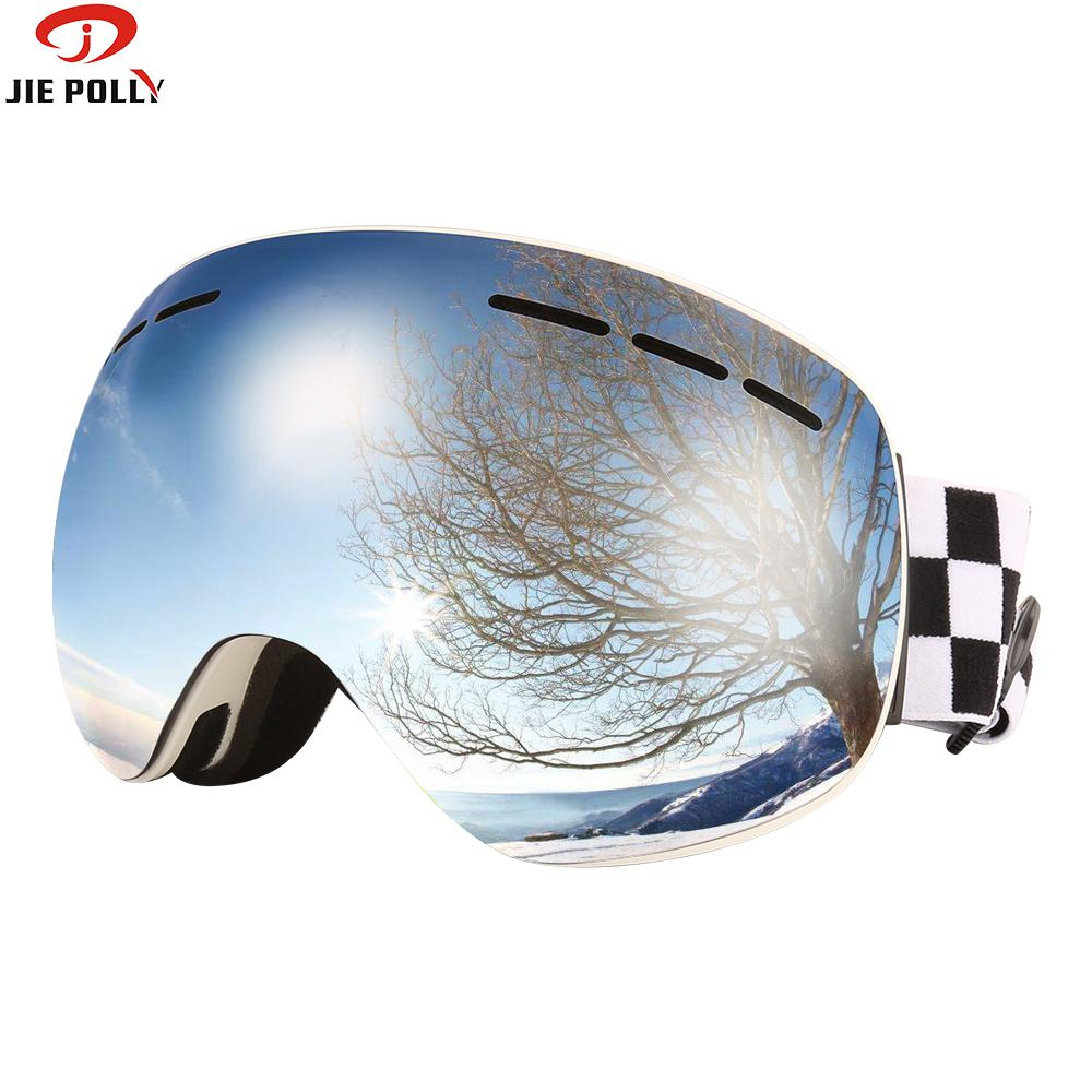 Jiepolly Ski Skiing Snowboard Goggles Magnetic Dual Layer Lens Anti fog UV400 Skating Snowmobile Ski Mask