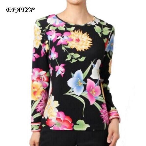 New 2017 spring High Quality Luxury Brands Designer Blouses Women s Long Sleeve Black flowers Printed