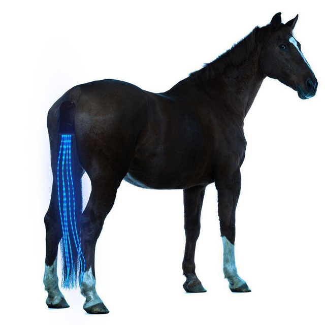 New 100CM Horse Tail USB Chargeable LED Horse Harness - Equestrian Riding Tail Lights 1