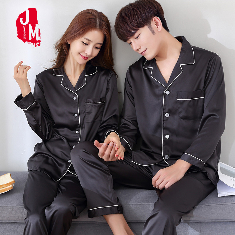 JM Junemaist 2018 Black Pajama Sets Sleep Solid Satin Sleepwear Full Sleeve Silk