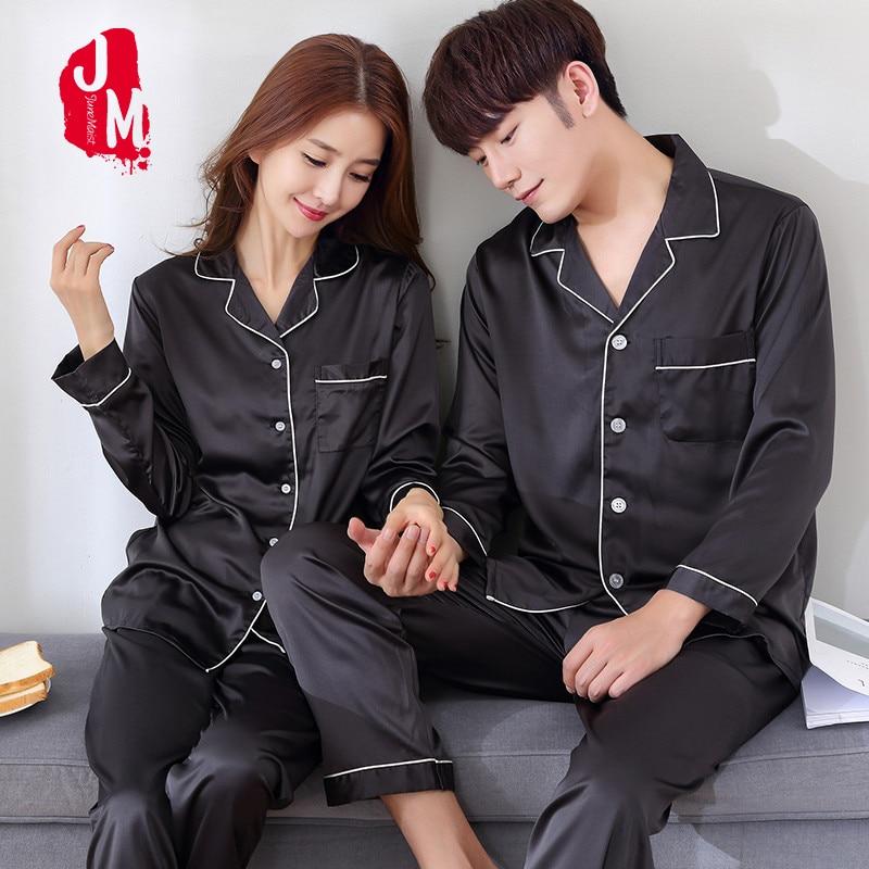 2018 Black Silk Men Pajama Sets Sleep Solid Satin Sleepwear Men Summer Suit Full Sleeve Silk Pyjama Men Pyjamas Male XL XXL XXXL