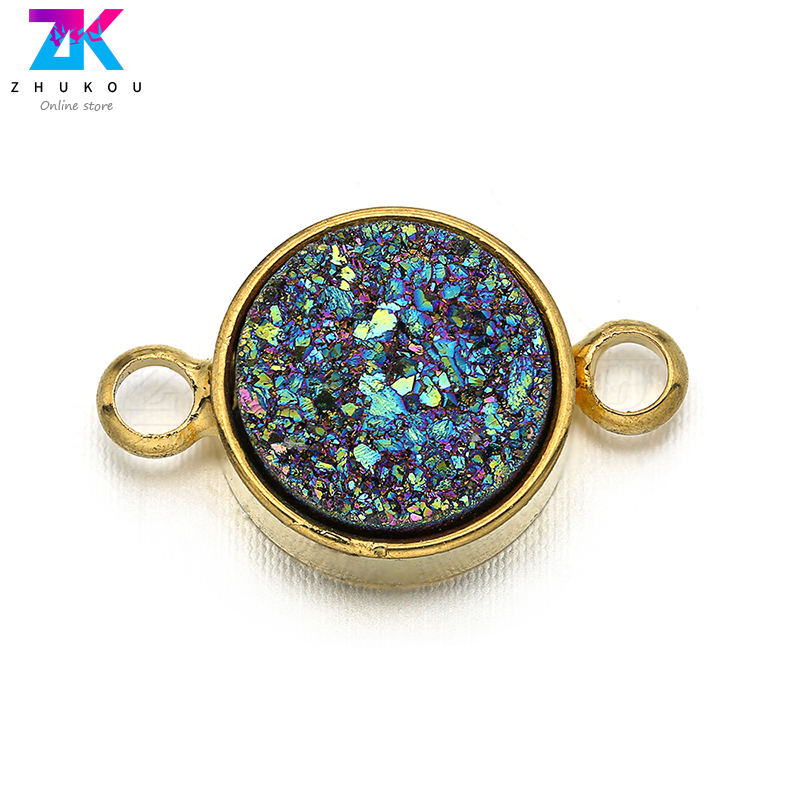 9*15mm Women Necklace Pendants Cubic Zirconia Round Charms Connectors DIY Jewelry Bracelet Findings Accessories, Model: VS257