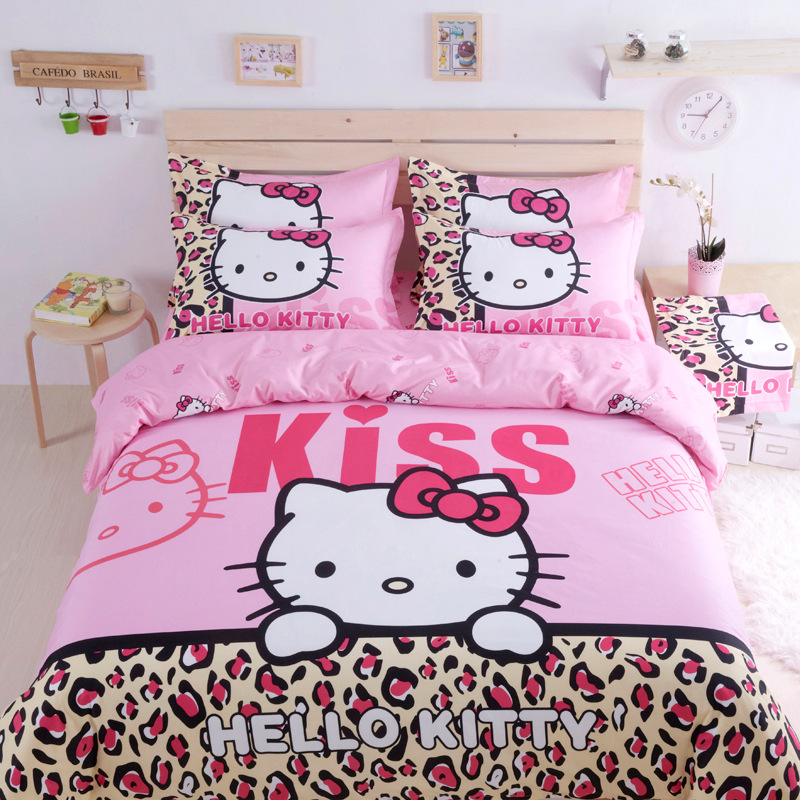 df2bb966e Queen Size Home Textile Cartoon 4pcs Bedding Set Skin Cotton Hello Kitty  Duvet Cover Bed Sheet Pillow Cases For Girl Lady
