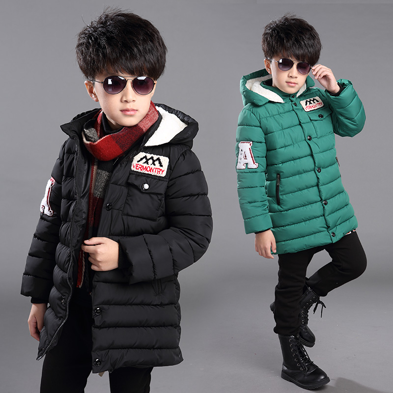 FYH Winter Kids Clothing Boys Hooded Down Jacket Children Winter Jackets Teenager Kids Boys Warm Thicken Coat Cotton Padded Coat wendywu new arrival kids parka fleece children thickteenager outwear boys winter jackets warm hooded cotton padded winter coat b