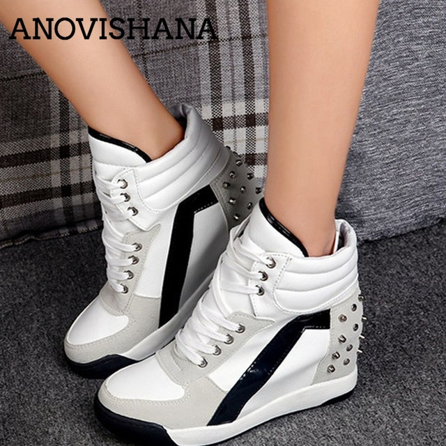 25617ccfd4c9 ANOVISHANA Fashion Women Sneakers Rivets white Hidden Wedge Heel ladies  shoes High Top platform sneakers tenis zapatillas mujer