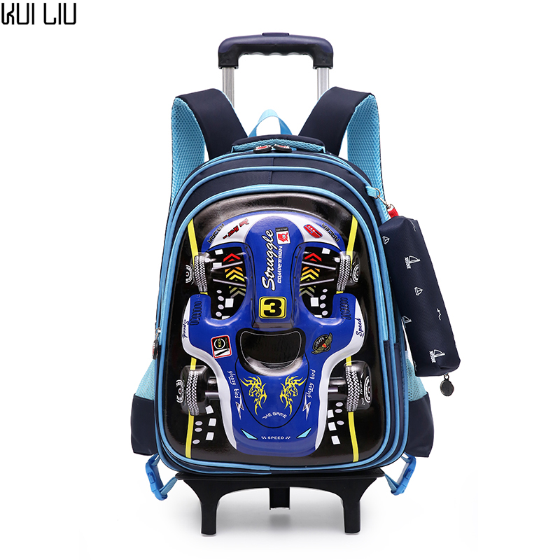 Children Trolley School Bag Backpack Wheeled 3D Car Printing book Bag For boy Gril Kids Wheel