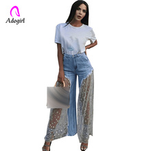 High Waist Women Jeans Lace Mesh Star Print Spliced Casual Jeans Women Sexy Ripped Burr Tansparent Elegant Wide Leg Denim Pants jeans star