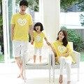 Южнокорейские дети летний стиль 2017 семья износ пары одежды С Коротким рукавом Футболки семья соответствующие наряды