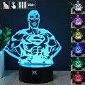 Half-length Superman 3D Night Light RGB Mutável Lâmpada de Humor e LEVOU Luz dc 5 v usb candeeiro de mesa decorativo obter um free controle remoto