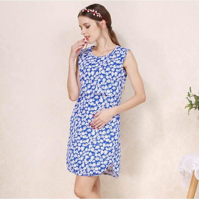 a53e7f7685de9 Emotion Moms Summer Flower Nursing Dress for Pregnancy Woman Cotton  Sleeveless Maternity Dress Clothing Breastfeeding Dress